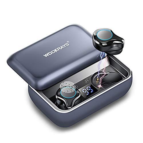 Auriculares Bluetooth, WOOKRAYS inalámbricos Bluetooth 5.0 Sonido Estéreo Auricular, 120H&3000mAh Caja de Carga de...