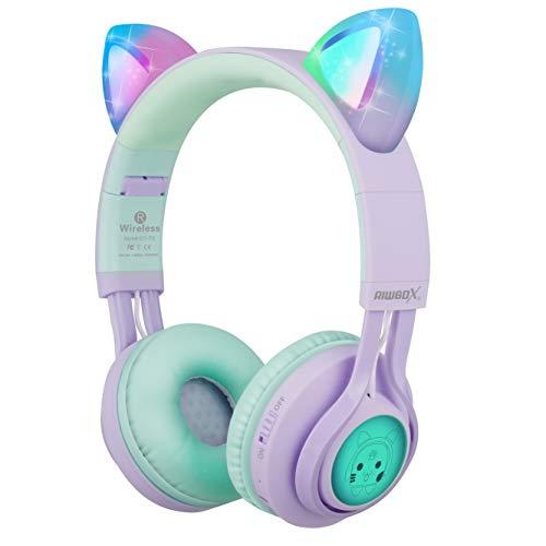 Riwbox CT-7S Auriculares Bluetooth con Orejas de Gato para niños, limitación de Volumen a 85 dB, luz LED,...