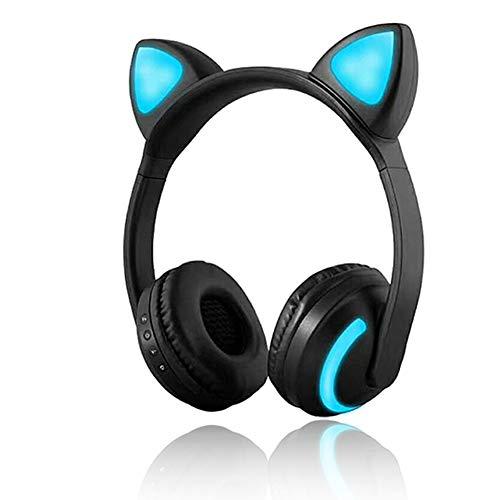 Auriculares inalámbricos Bluetooth con orejas de gato con luz LED intermitente y brillante de 7 colores, auriculares...