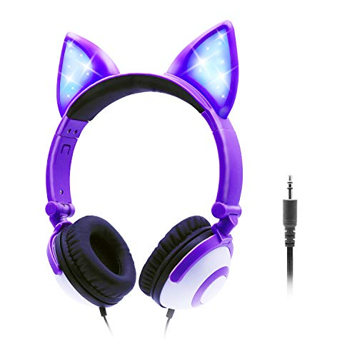 ONTA Auriculares para Niños con LED Brillante De Gatos Monos para Oído, Plegable, Cancelación De Sonido y Ajustables,...