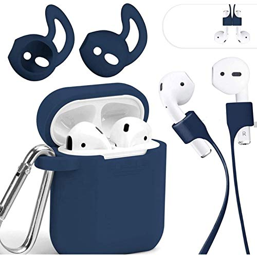 Mauri - Funda para AirPods de silicona compatible con auriculares Apple Earpods 2 y 1, con soporte de carga inalámbrica...