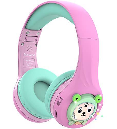 Riwbox Baosilon FB-7S Auriculares para niños Bluetooth, LED con luz Auriculares Plegables Bluetooth para Colocar sobre...