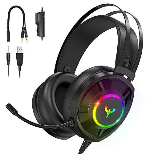 Blade Hawks Auriculares Gaming, Auriculares para Juegos con Sonido Envolvente, Efecto RGB, Orejeras Permeables al Aire,...