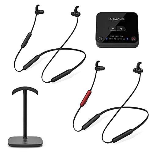 Avantree HT41866 Bluetooth 5.0 Auriculares inalámbricos duales para TV transmisor Soporte Auriculares Casco, con Banda...