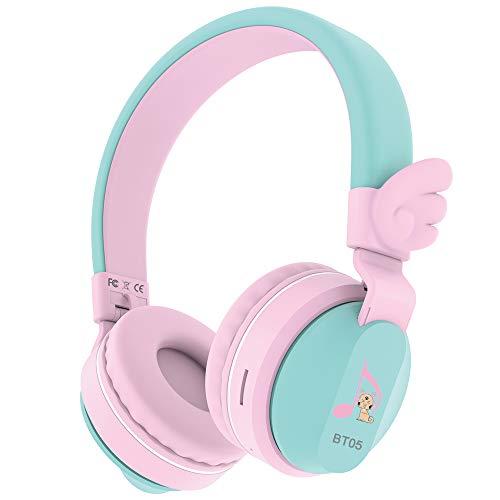 Riwbox BT05 Wings - Auriculares inalámbricos Bluetooth para niños, 85dB/103db, Control de Volumen para niños,...
