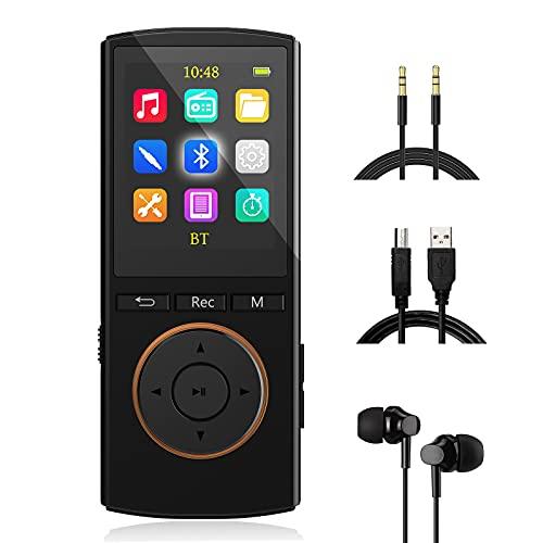 Reproductor MP3 Bluetooth Mejorado 32GB, Multifunción Música Grabador FM Radio, Rasgando, Shuffle, HiFi, Negro...