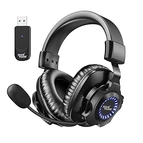 REDSTORM Auriculares Inalámbricos, 2.4G Auriculares para Juegos Estéreo Inalámbricos, con Micrófono y Control de...