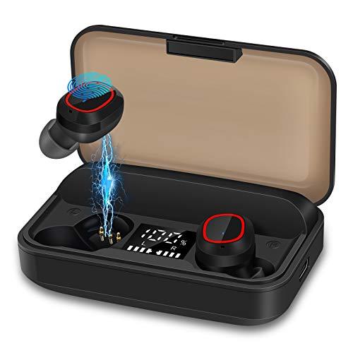 bakibo Auriculares Inalámbricos Bluetooth 5.1, Emparejamiento Automático Deporte Micrófono Auriculares con LCD...