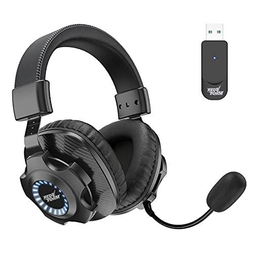 REDSTORM Auriculares Gaming Inalámbricos, 2.4G Auriculares para Juegos Estéreo Inalámbricos, con Micrófono y Control...