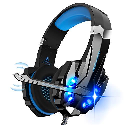 Hunterspider Auriculares de Diadema para Videojuegos con micrófono, 3.5mm Jack con Luz LED Bass Surround y Cancelación...