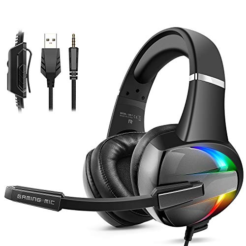 Cascos PS4, Auriculares con Micrófono Flexible, 50mm Driver Estéreo Envolventes, Orejeras Cómodas Iluminación RGB...