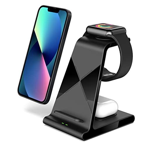 leQuiven Cargador inalámbrico Rápido para iPhone, Estación de Carga Qi Inalámbrica 3 en 1 Soportes de Carga para...
