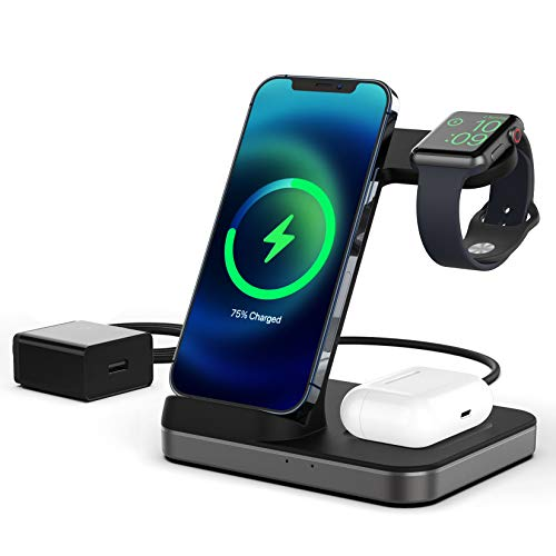 Boaraino Cargador Inalámbrico, 3 en 1 estación de carga inalámbrica para Apple Watch 6/SE/5/4/3, Airpods 2/Pro,...