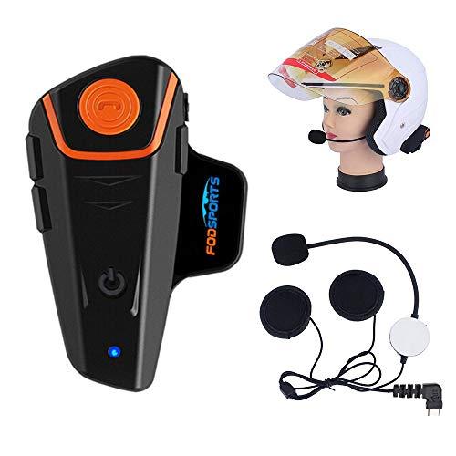 Fodsports BT-S2 - Casco de motocicleta con micrófono (impermeable, Bluetooth, sistema de comunicación con 1000 m, GPS,...
