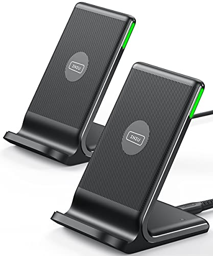 INIU Cargador Inalámbrico Rápido[2Pack], 15W Qi Wireless Charger Estación Compatible con iPhone 13 12 11 Pro MAX XR...