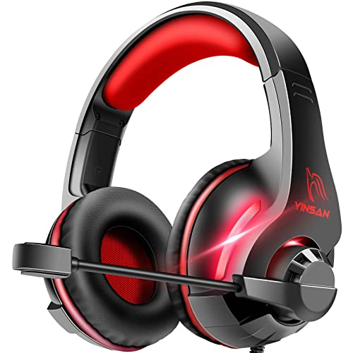 Cascos Auriculares, YINSAN Auriculares Gaming Estéreo da 3,5 mm Jack con Micrófono Flexible y Luz LED RGB, Cascos...