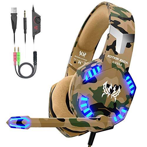 VersionTECH. Auriculares Gaming con Microfono de Diadema-Bass OverEar 3.5mm Jack,Luz LED,Volumen Control,Bajo Ruido para...