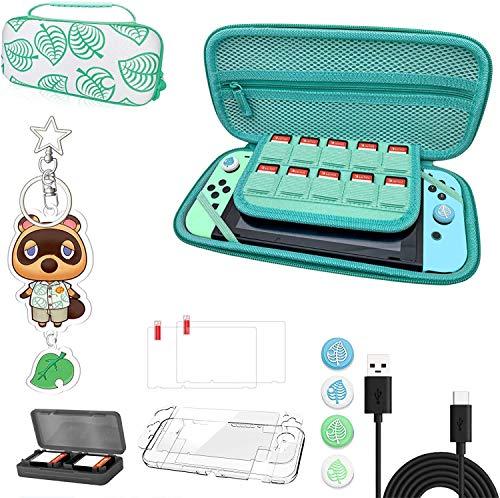 Animal Crossing Case Kit con accesorios, funda de almacenamiento portátil Animal Crossing con asa para Nintendo Switch...