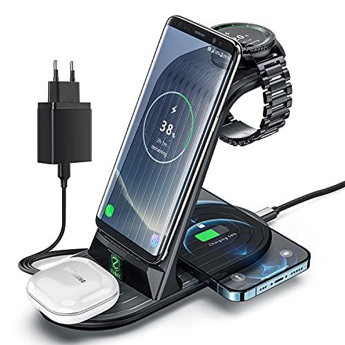Cargador Inalámbrico, ZHIKE 4 en 1 de Carga rápida de 10 W con Certificación Qi, Compatible con iPhone 11 Series / XS...