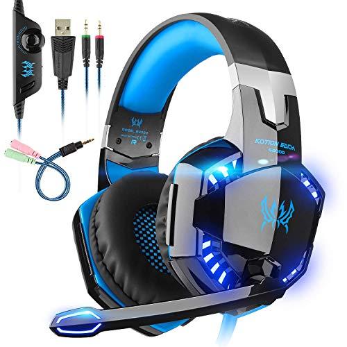Auriculares Gaming con microfono, Cascos Gaming, Auriculares para Juegos para PS4 / PC/Xbox One/Switch/Tableta/Celular,...