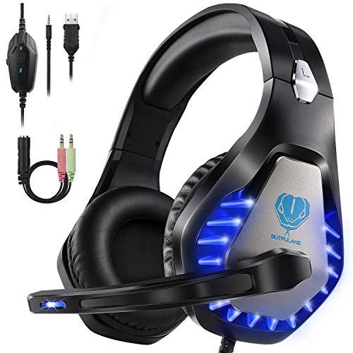 HeysTop Auriculares Gaming para PS4 PC, 3.5mm Cascos Ruido Reducción de Diademas Cerrados Profesional con Micrófono...