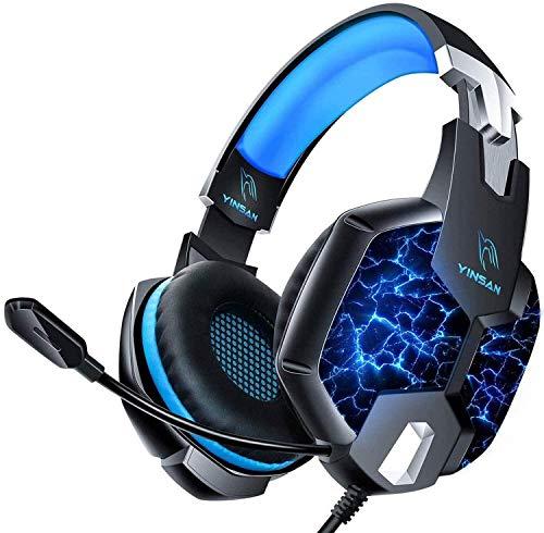 Auriculares para Videojuegos, YINSAN Cascos Gaming Premium Estéreo con Micrófono, 7 Luces LED y Orejeras de Memoria...