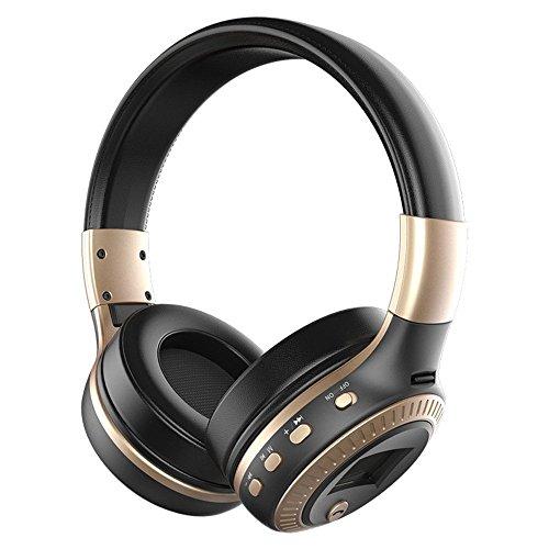LONGTENG Zealot - Auriculares inalámbricos Bluetooth con cancelación de ruido, 3D estéreo LCD, color negro y dorado