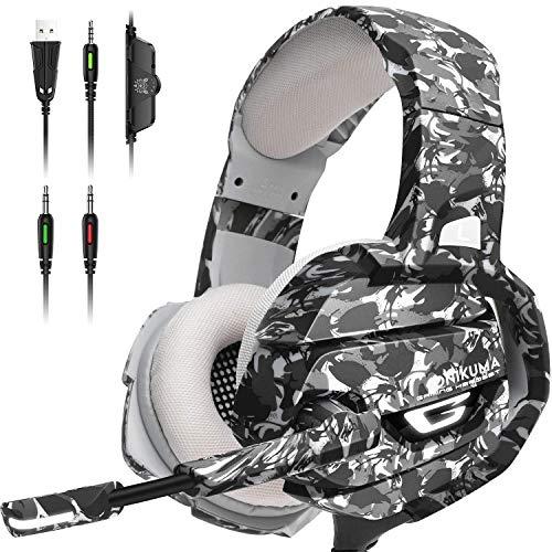 ONIKUMA Auriculares Gaming, Cascos PS4 con Sonido Envolvente 7.1, Cascos Xbox One con Micrófono con Cancelación de...