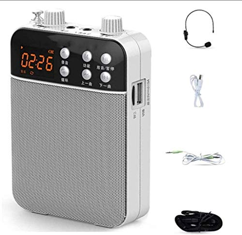 SMSOM 1500mAH Recargable portátil Amplificador de Voz con micrófono inalámbrico de Auriculares, micrófono y Altavoz...