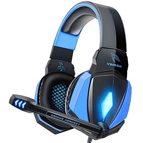 YINSAN Cascos Gaming, Auriculares Premium Stereo con Micrófono, Luz LED y Control Volumen, Diadema Acolchada y...