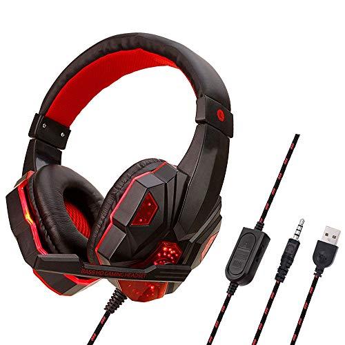 Auriculares de Juego DKEE Auriculares para Juegos de Auriculares Ordenador PC/For PS4 / Xbox One/Switch y Dispositivos...