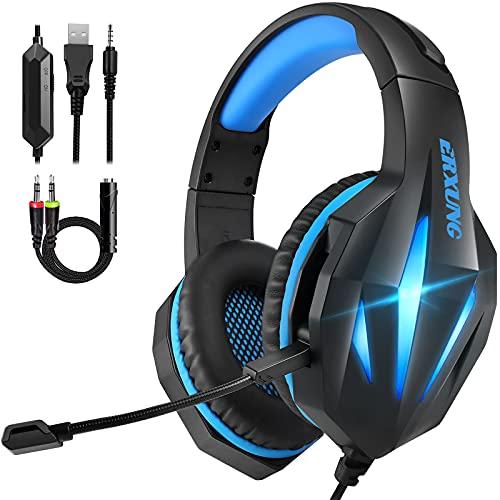 Cascos Gaming PS4 Switch, Auriculares Gaming Xbox One con Micrófono Reducción de Ruido, 50mm Drivers Sonido Envolvente...