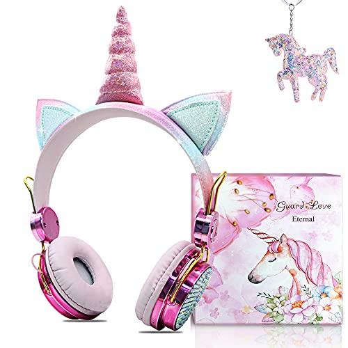Auriculares Bluetooth con Orejas de Gato para Niña,Auriculares Infantiles Unicornio con Micrófonos,Limitación de...