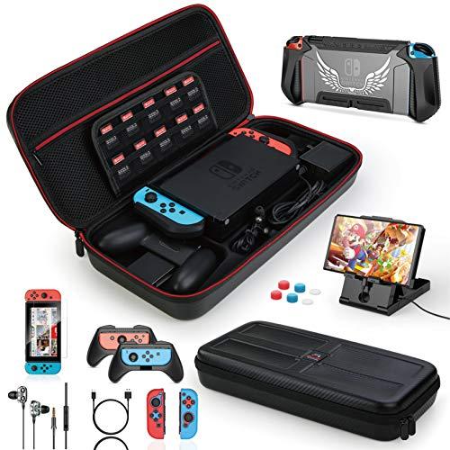 HEYSTOP Funda para Nintendo Switch, 16 in 1 Accesorios Nintendo Switch con Carcasa de TPU+Joy-Con Mandos+Protector de...
