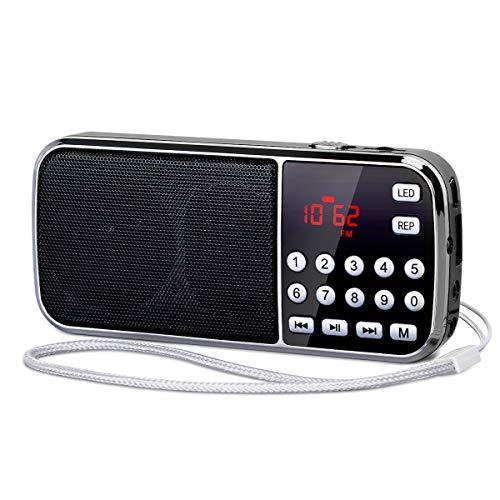 [Actualizado] PRUNUS J-189 Am/FM Radio Portatil Pequeña, Radio Bluetooth con Doble de Altavoces Graves Profundos,...
