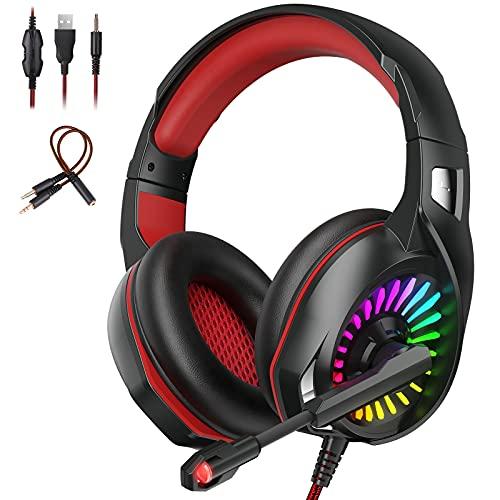 Auriculares para Videojuegos Cascos Gaming Profesional Audio Estéreo con Micrófono para PC, PS4, Switch, Xbox,...