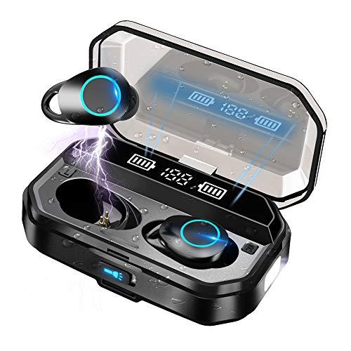 Auriculares Inalámbricos Bluetooth 5.0 con linterna LED, IPX7 Impermeable Sport Auriculares con Mic/120 Hrs/HD...